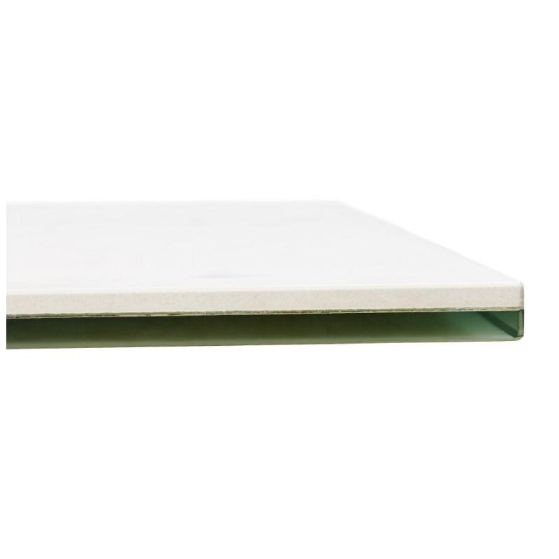 Table à manger design en céramique et métal noir (180x90 cm) FLORINA (blanc) - image 48916