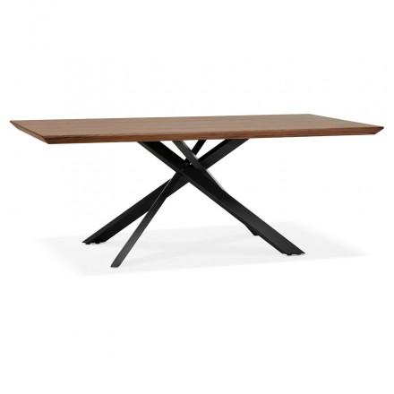 Mesa de comedor de diseño de madera y metal negro (200x100 cm) CATHALINA (ahogamiento)