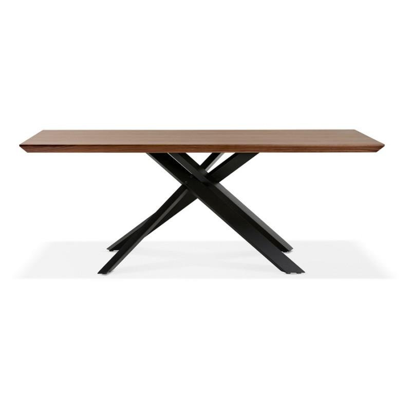 Table à manger design en bois et métal noir (200x100 cm) CATHALINA (noyer) - image 48922
