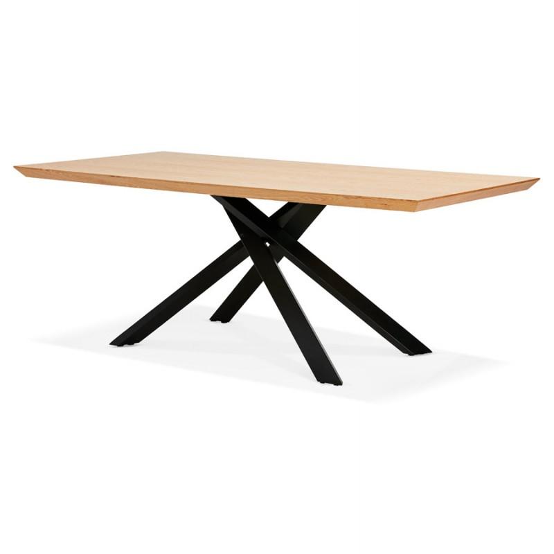 Mesa de comedor de diseño de madera y metal negro (200x100 cm) CATHALINA (acabado natural) - image 48935