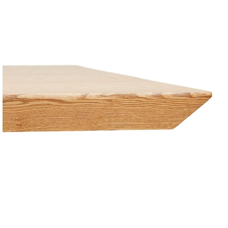 Mesa de comedor de diseño de madera y metal negro (200x100 cm) CATHALINA (acabado natural) - image 48938