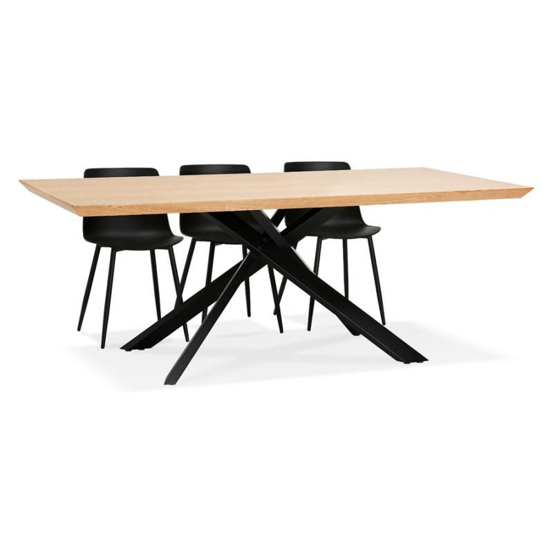 Mesa de comedor de diseño de madera y metal negro (200x100 cm) CATHALINA (acabado natural) - image 48942