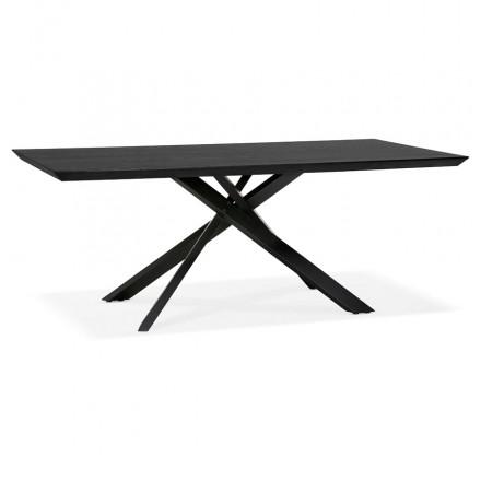 Table à manger design en bois et métal noir (200x100 cm) CATHALINA (noir)