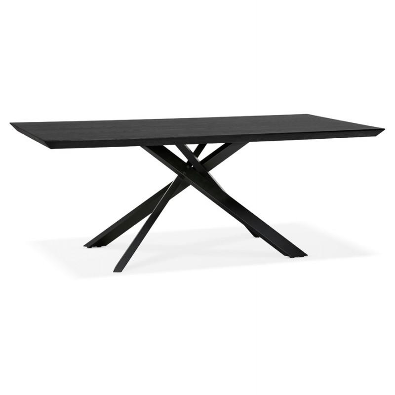 Esstisch aus Holz und schwarz Metall (200x100 cm) CATHALINA (schwarz) - image 48943