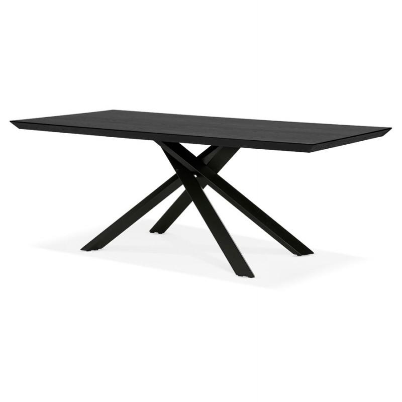 Esstisch aus Holz und schwarz Metall (200x100 cm) CATHALINA (schwarz) - image 48946