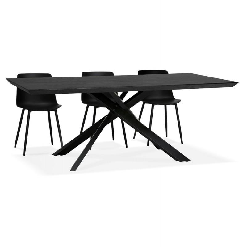 Esstisch aus Holz und schwarz Metall (200x100 cm) CATHALINA (schwarz) - image 48952