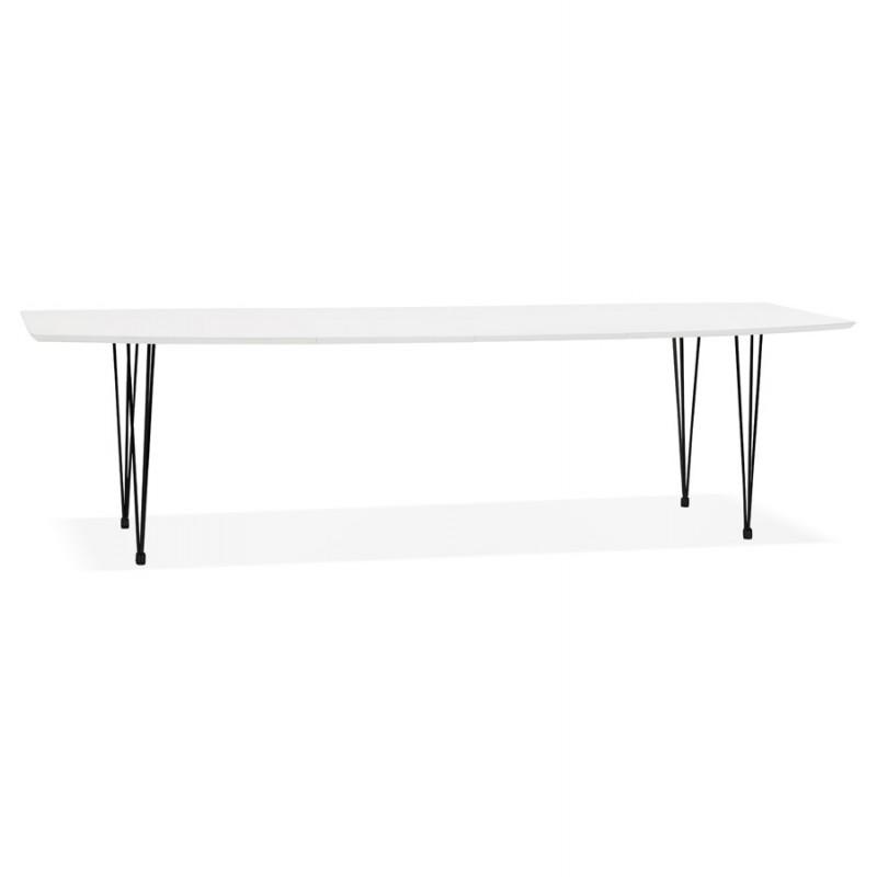 Ausziehbarer Esstisch aus Holz und schwarze Metallfüße (170/270cmx100cm) JUANA (mattweiß)