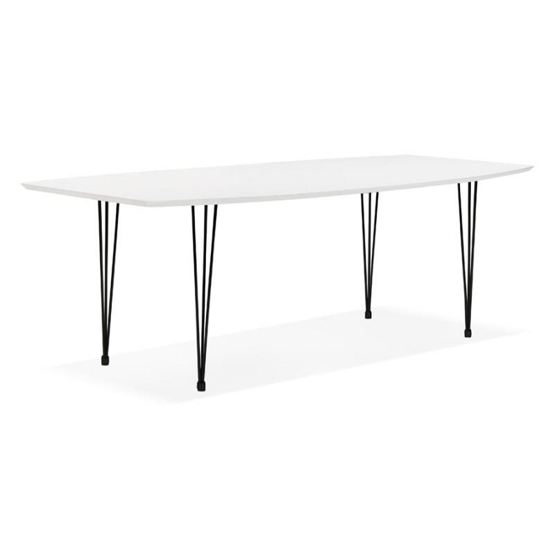 Table à manger extensible en bois et pieds métal noir (170/270cmx100cm) JUANA (blanc mat) - image 48979