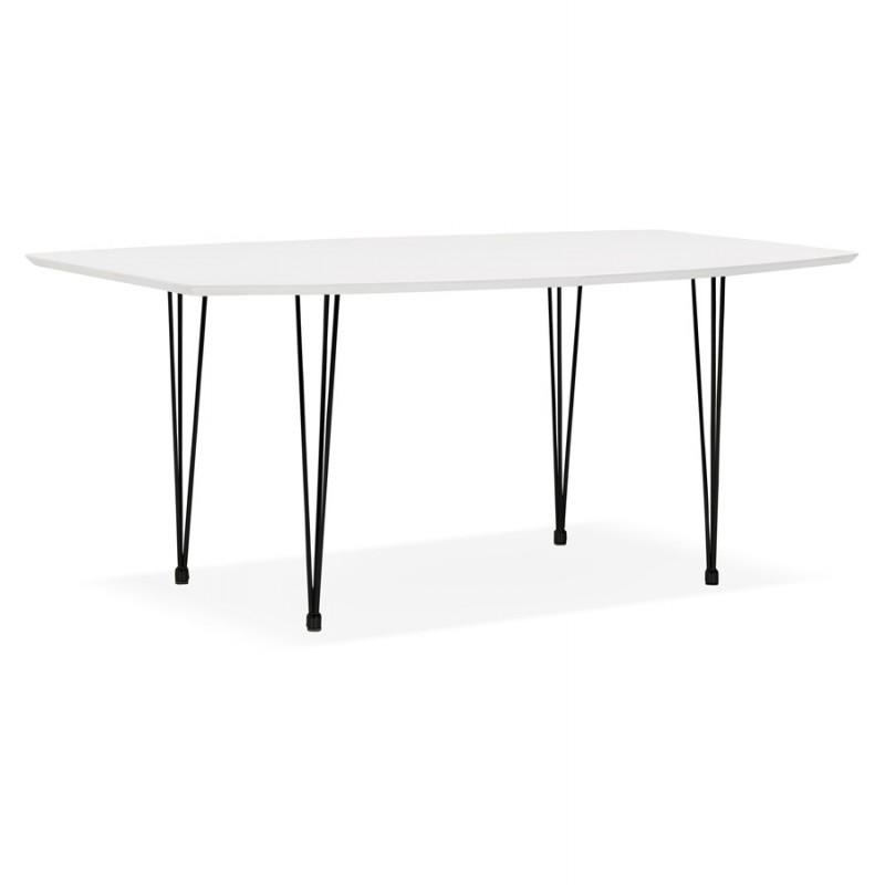 Table à manger extensible en bois et pieds métal noir (170/270cmx100cm) JUANA (blanc mat) - image 48980