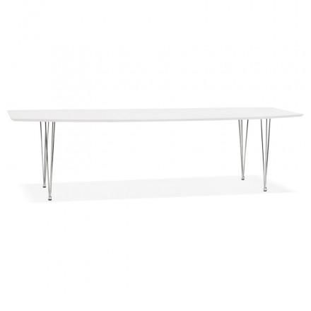 Tavolo da pranzo in legno estensibile e piedi cromati (170/270cmx100cm) JUANA (bianco opaco)
