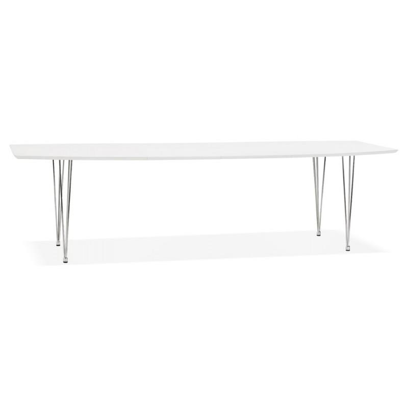 Ausziehbarer Esstisch aus Holz und Chromfüße (170/270cmx100cm) JUANA (mattweiß)