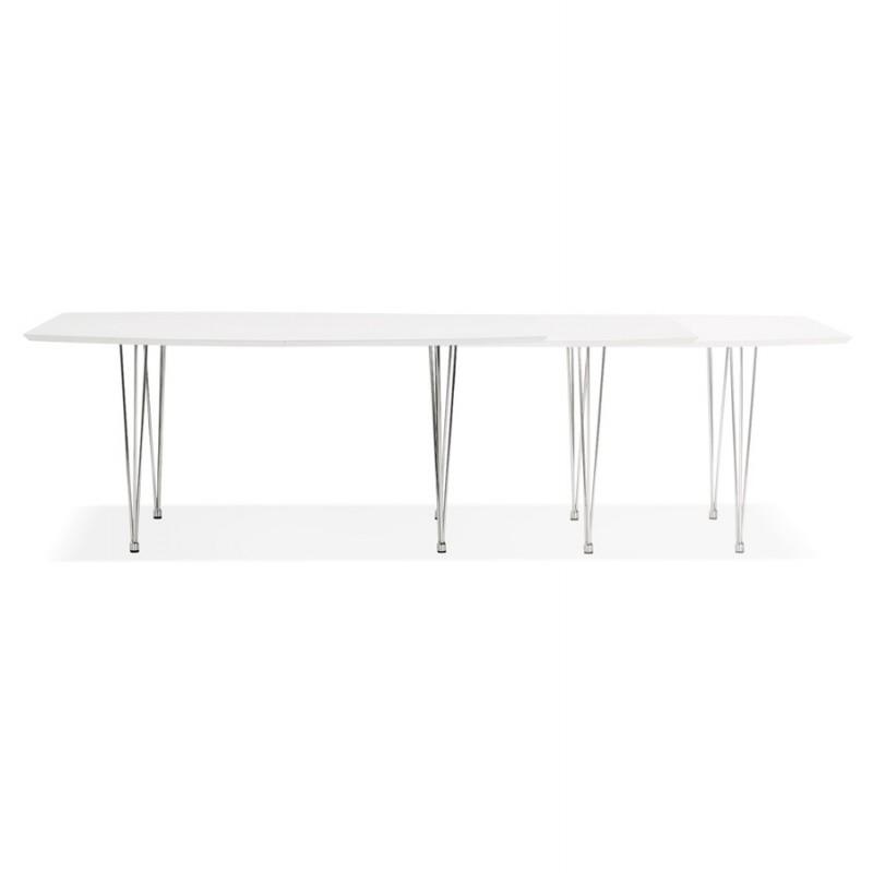 Table à manger extensible en bois et pieds chromés (170/270cmx100cm) JUANA (blanc mat) - image 48994