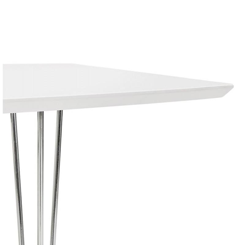 Mesa de comedor de madera extensible y pies cromados (170/270cmx100cm) JUANA (blanco mate) - image 48996