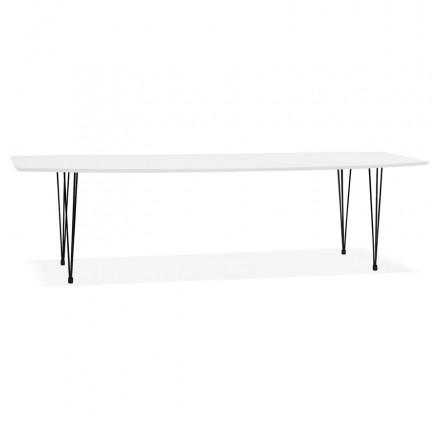 Table à manger extensible en bois et pieds noirs (170/270cmx100cm) LOANA (blanc laqué)