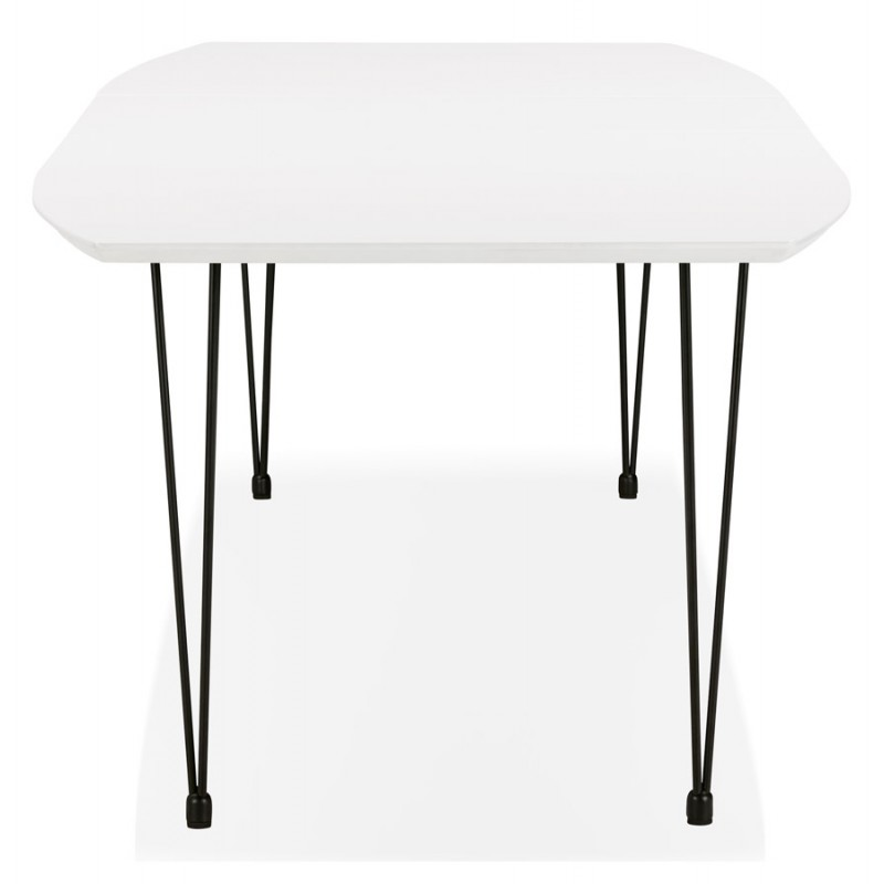 Mesa de comedor de madera extensible y pies negros (170/270cmx100cm) LOANA (laqué blanco) - image 49004