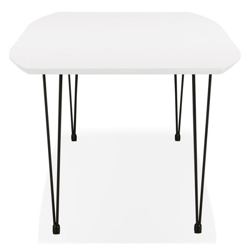 Table à manger extensible en bois et pieds noirs (170/270cmx100cm) LOANA (blanc laqué) - image 49004