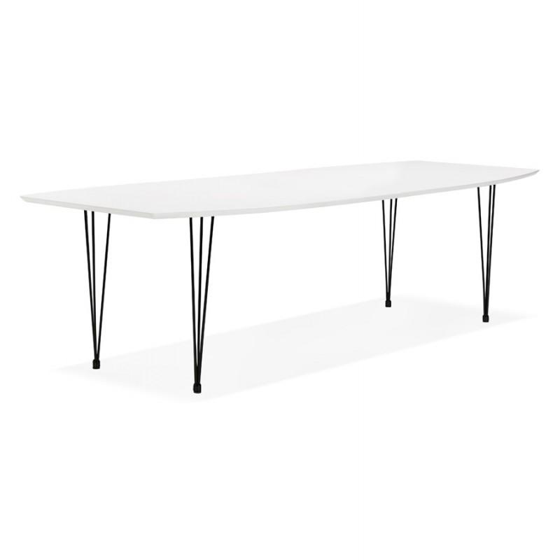Table à manger extensible en bois et pieds noirs (170/270cmx100cm) LOANA (blanc laqué) - image 49005
