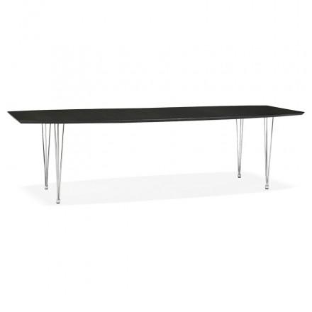Mesa de comedor de madera extensible y pies cromados (170/270cmx100cm) RINBO (negro)