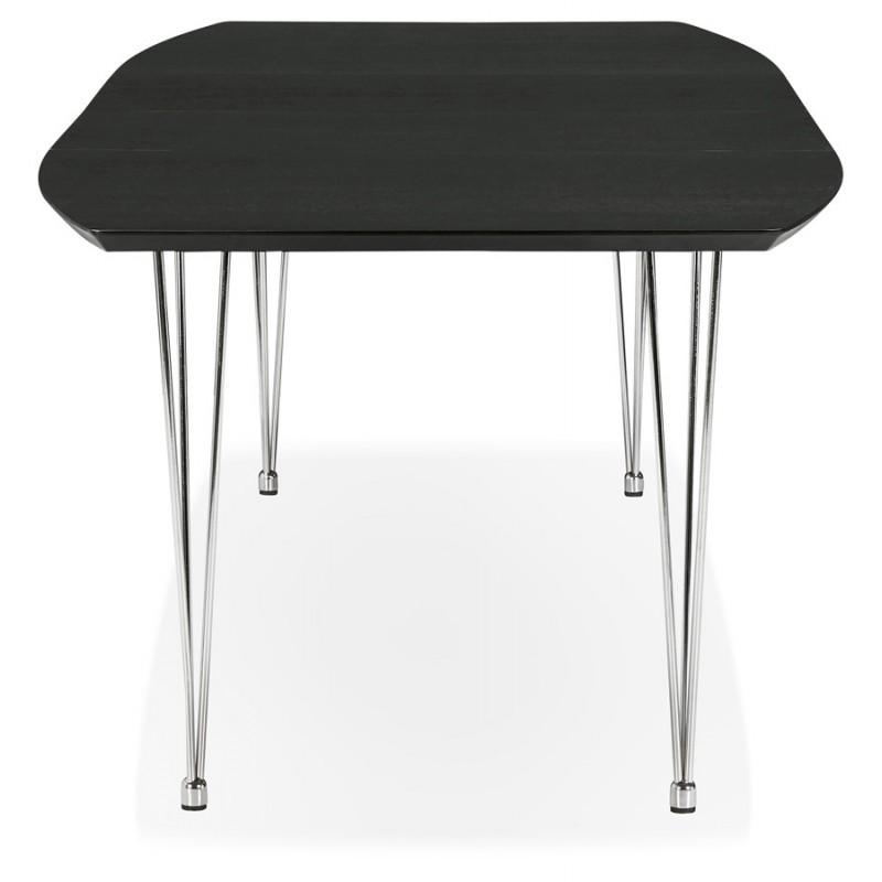 Table à manger extensible en bois et pieds chromé (170/270cmx100cm) RINBO (noir) - image 49011