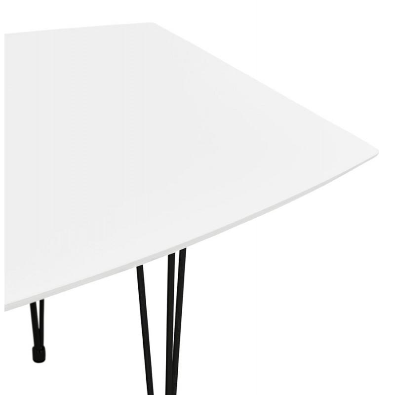Table à manger extensible en bois et pieds noirs (170/270cmx100cm) LOANA (blanc laqué) - image 49012