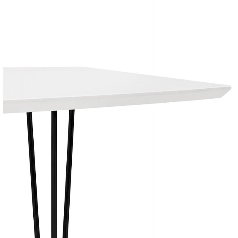 Table à manger extensible en bois et pieds noirs (170/270cmx100cm) LOANA (blanc laqué) - image 49014