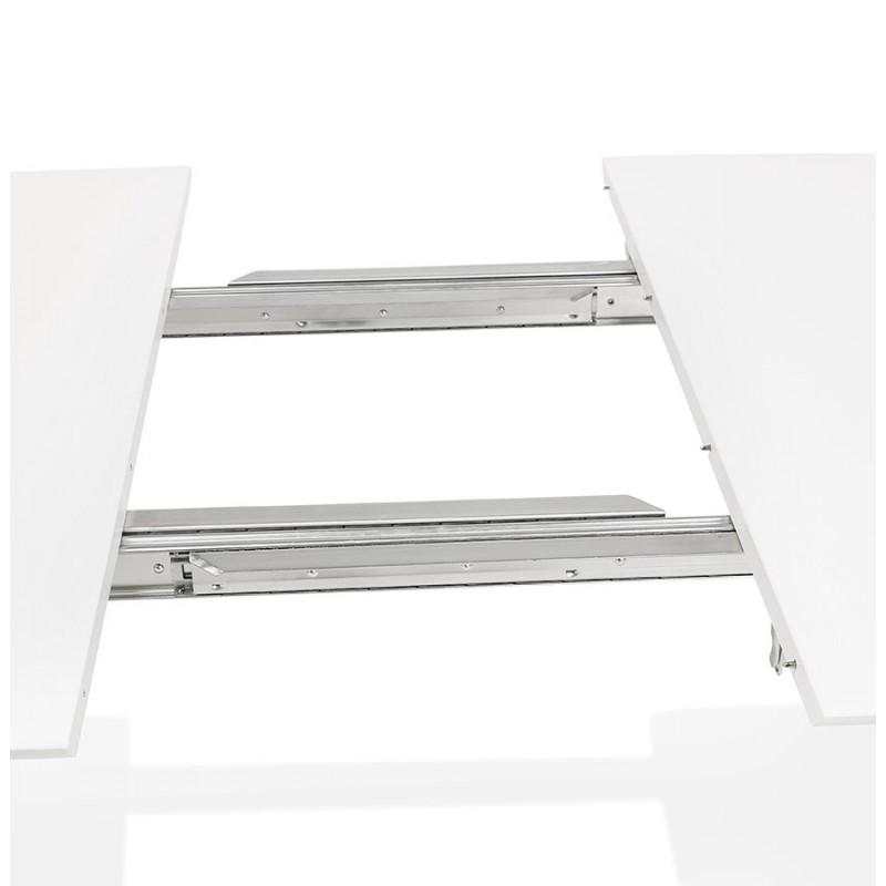 Table à manger extensible en bois et pieds noirs (170/270cmx100cm) LOANA (blanc laqué) - image 49016