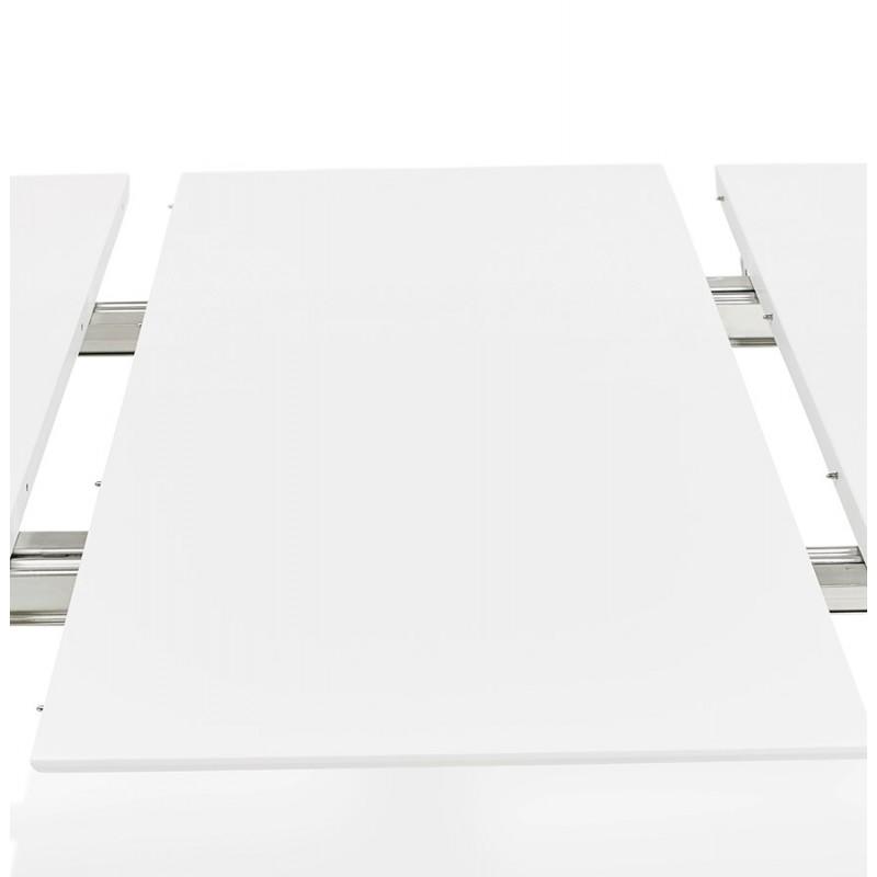 Table à manger extensible en bois et pieds noirs (170/270cmx100cm) LOANA (blanc laqué) - image 49018