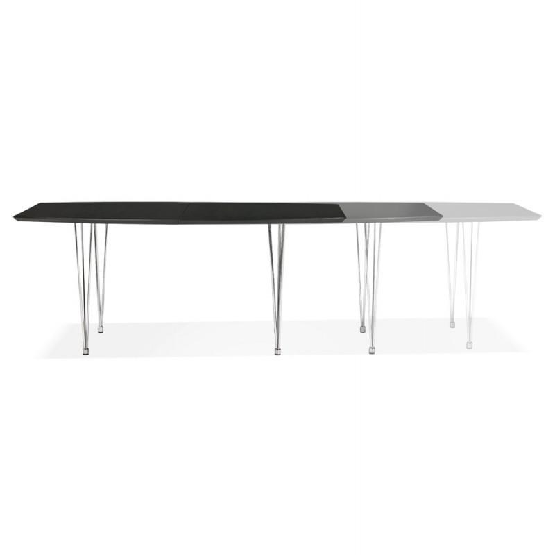 Table à manger extensible en bois et pieds chromé (170/270cmx100cm) RINBO (noir) - image 49019