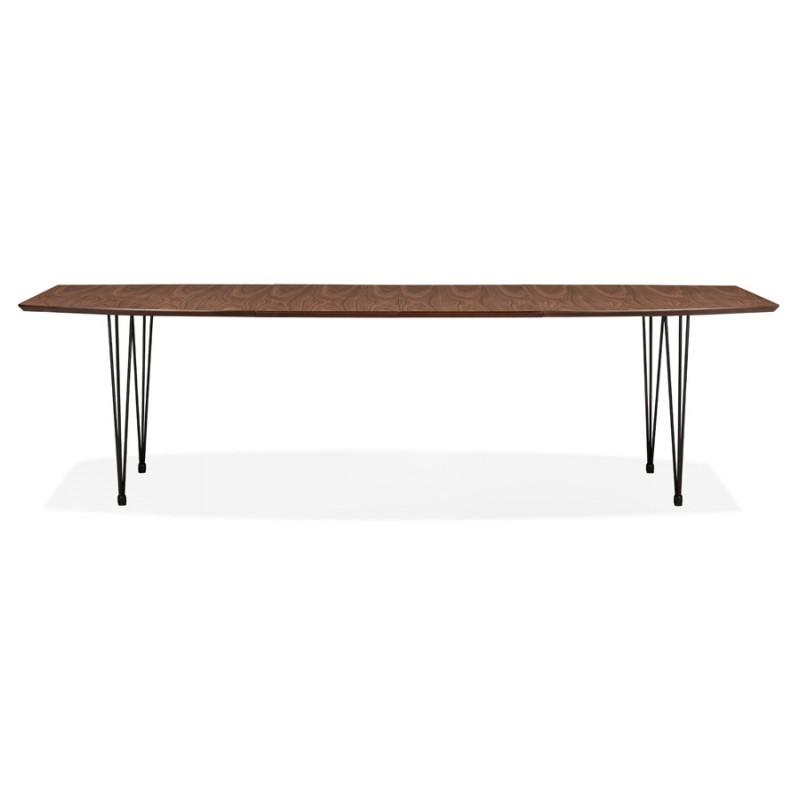 Table à manger extensible en bois et pieds noirs (170/270cmx100cm) LOANA (noyer) - image 49026