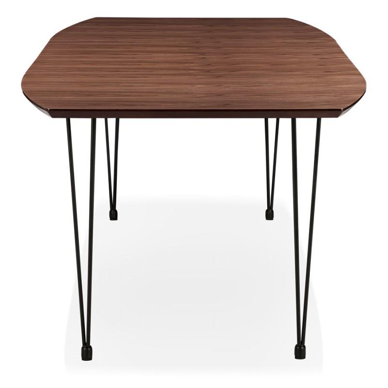 Table à manger extensible en bois et pieds noirs (170/270cmx100cm) LOANA (noyer) - image 49028