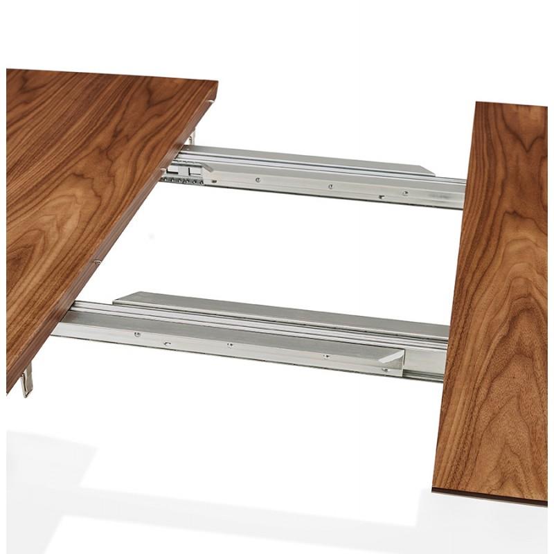 Table à manger extensible en bois et pieds noirs (170/270cmx100cm) LOANA (noyer) - image 49042