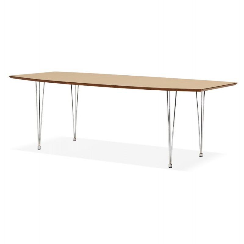 Table à manger extensible en bois et pieds chromé (170/270cmx100cm) RINBO (finition naturelle) - image 49043