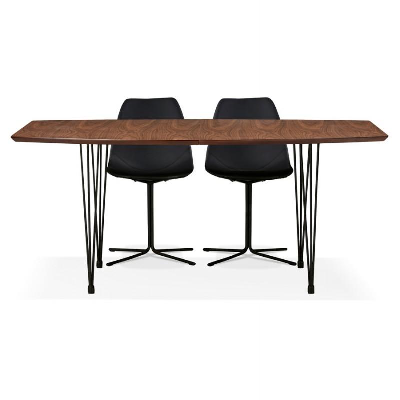Table à manger extensible en bois et pieds noirs (170/270cmx100cm) LOANA (noyer) - image 49049