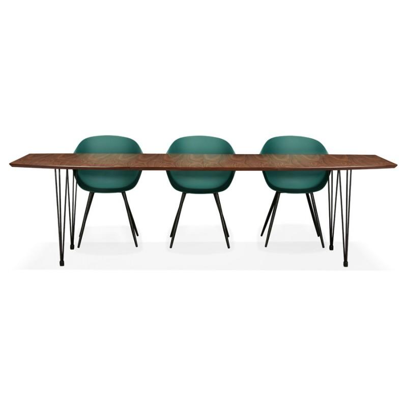 Table à manger extensible en bois et pieds noirs (170/270cmx100cm) LOANA (noyer) - image 49055