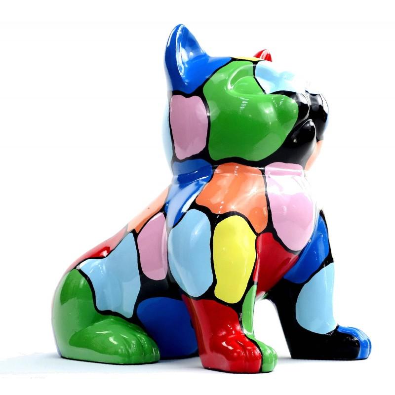 Statue sculpture décorative design CHAT ASSIS en résine H45 (multicolore) - image 49078