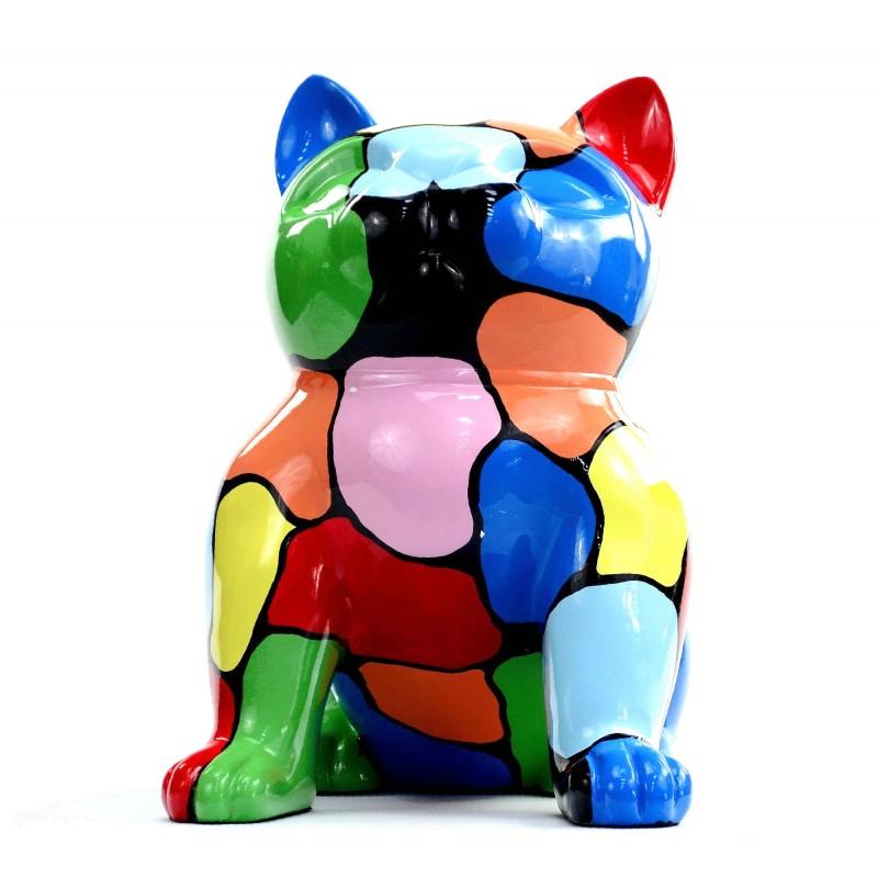 Statue sculpture décorative design CHAT ASSIS en résine H45 (multicolore) - image 49079