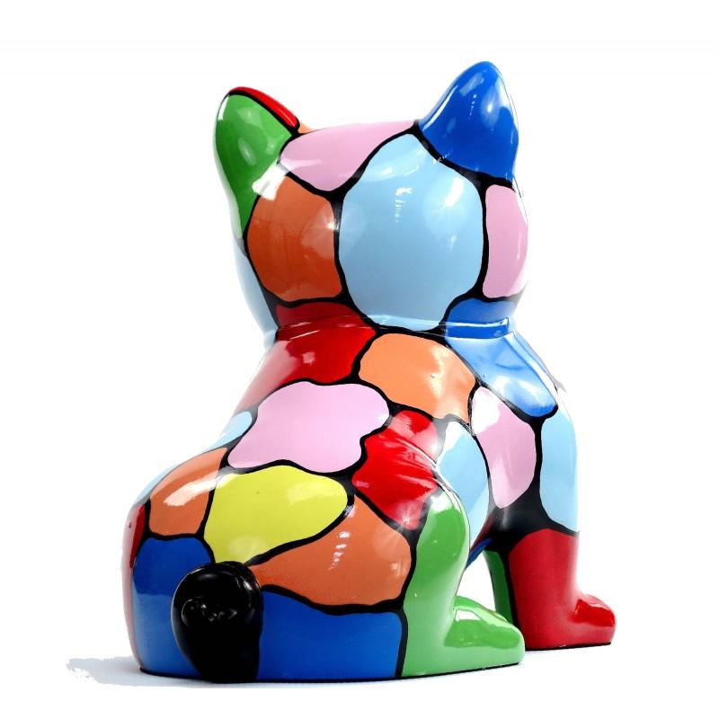 Statue sculpture décorative design CHAT ASSIS en résine H45 (multicolore) - image 49082