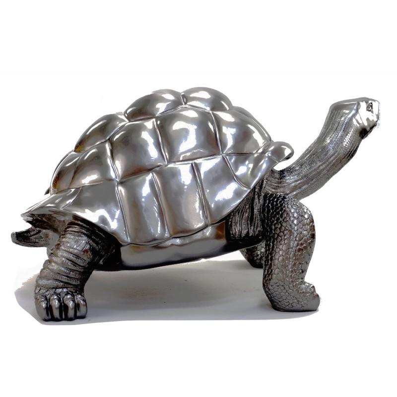 Estatua de tortuga diseño escultura decorativa en resina (plata) - image 49092