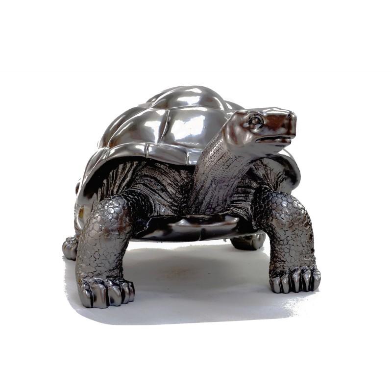 Estatua de tortuga diseño escultura decorativa en resina (plata) - image 49093