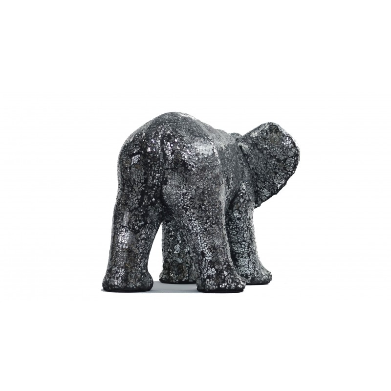 Statue ELEPHANT design decorative sculpture in resin (black, silver) - image 49095