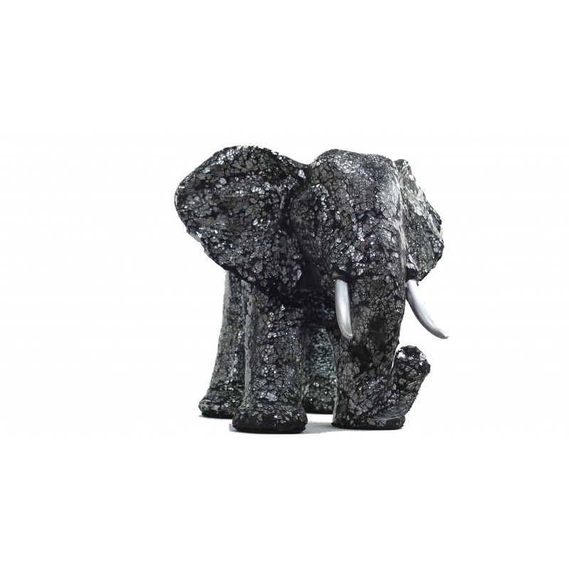 Statue ELEPHANT design decorative sculpture in resin (black, silver) - image 49097