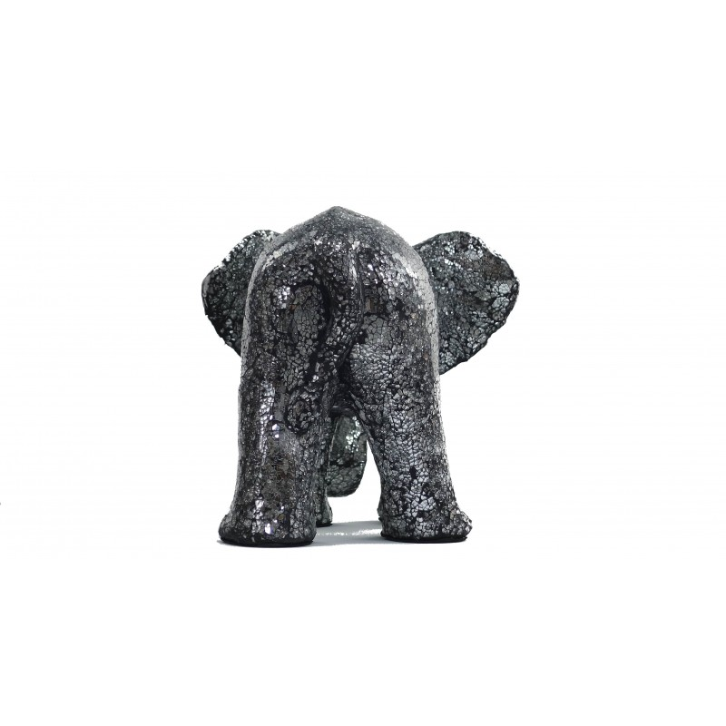 Statue ELEPHANT design decorative sculpture in resin (black, silver) - image 49099