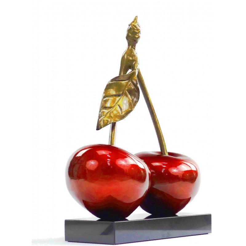 Statue sculpture décorative design CERISE DOUBLE en résine H46 cm (rouge) - image 49108