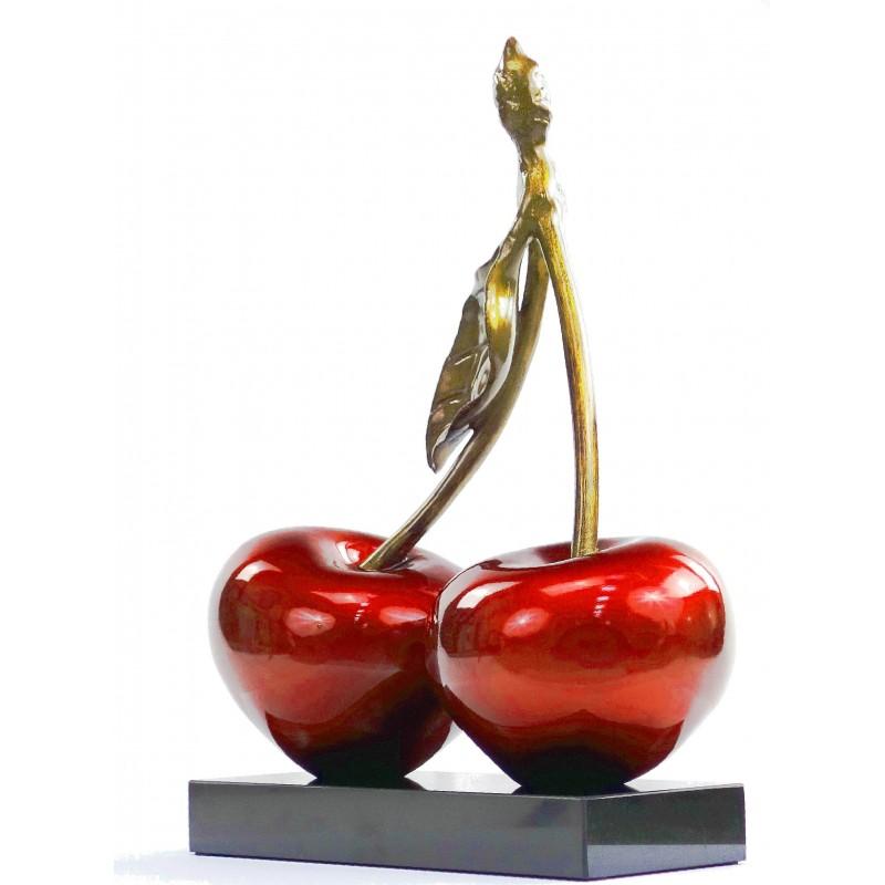 Statue sculpture décorative design CERISE DOUBLE en résine H46 cm (rouge) - image 49109