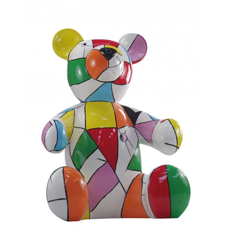 Statue sculpture decorative design Teddy bear resin H100 cm (multicolor) - image 49121