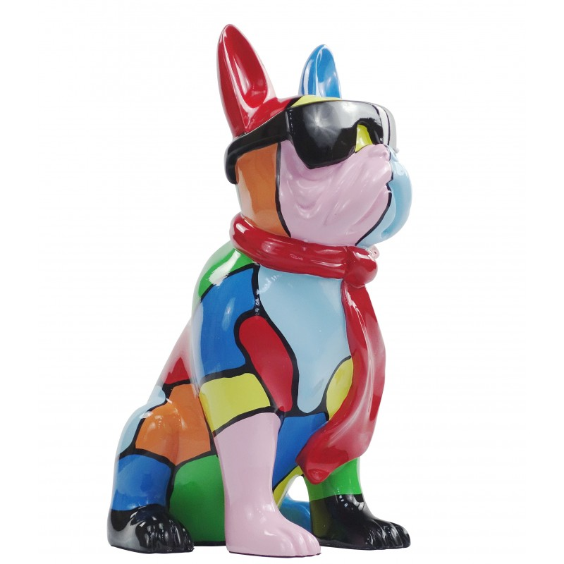 Resin statue sculpture decorative design dog A SUNGLASSES stand H36 (multicolor) - image 49163