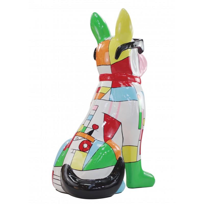 Perro de diseño decorativo de la escultura de resina estatua permanente H102 (multicolor) - image 49170