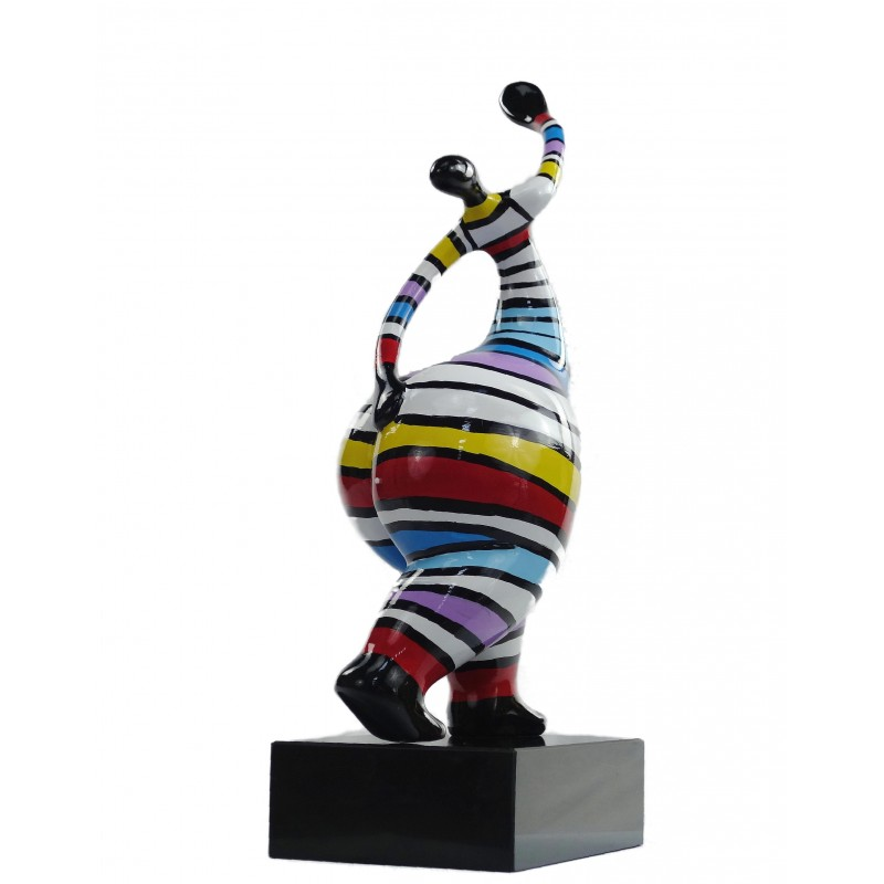 Statuette design decorative sculpture woman standing in resin H61 (multicolor) - image 49223