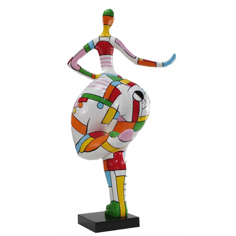 Statue woman Harlequin design decorative sculpture in resin H140 (multicolor) - image 49231