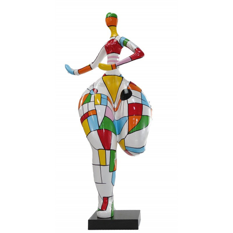 Statue woman Harlequin design decorative sculpture in resin H140 (multicolor) - image 49234